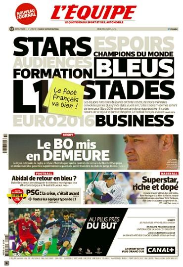 La Une de l'Equipe faisant état d'un football français en bonne santé, une semaine avant le revers de Sainté et Nice en barrage de C3.