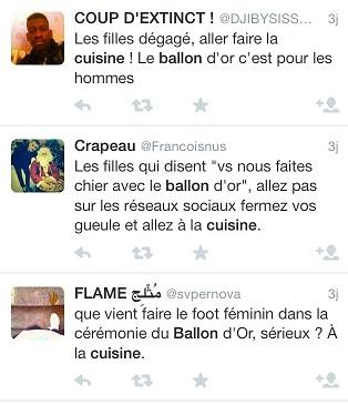 Réactions de certains garçons envers les filles lors de la remise du Ballon d'Or.