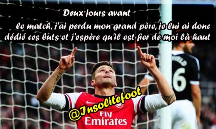 RESPECT : Giroud a dédié ses deux buts à son grand-père récemment décédé.