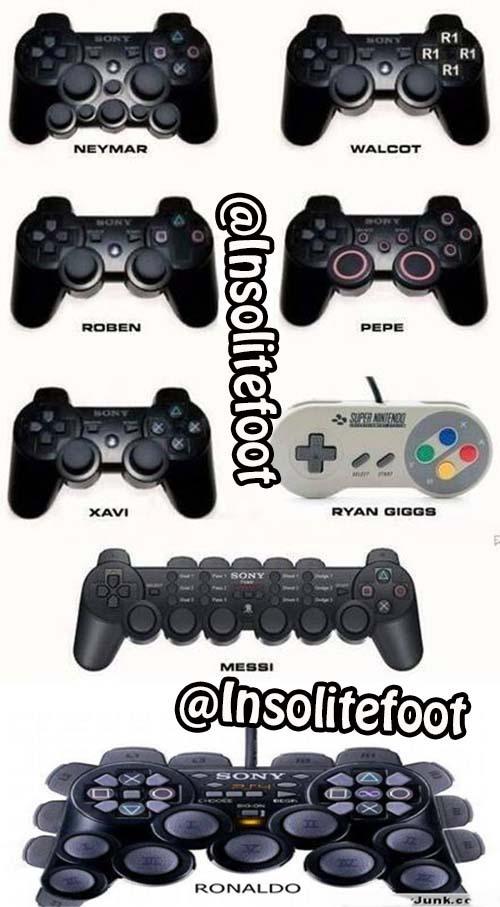 Les manettes de Neymar, Walcott, Robben, Pepe, Xavi, Giggs, Messi et Ronaldo !
