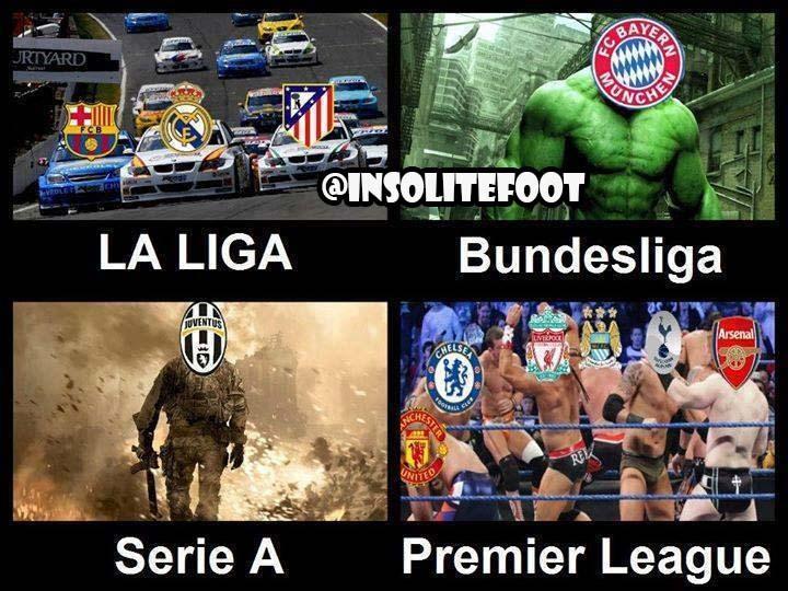 Voilà comment résumer la Liga, La Bundesliga, la SerieA et la PL !