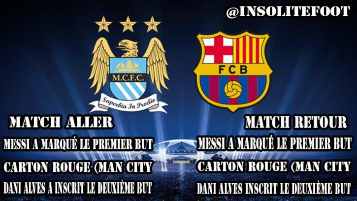 Barça-ManCity : Match aller / retour en mode copier-coller !