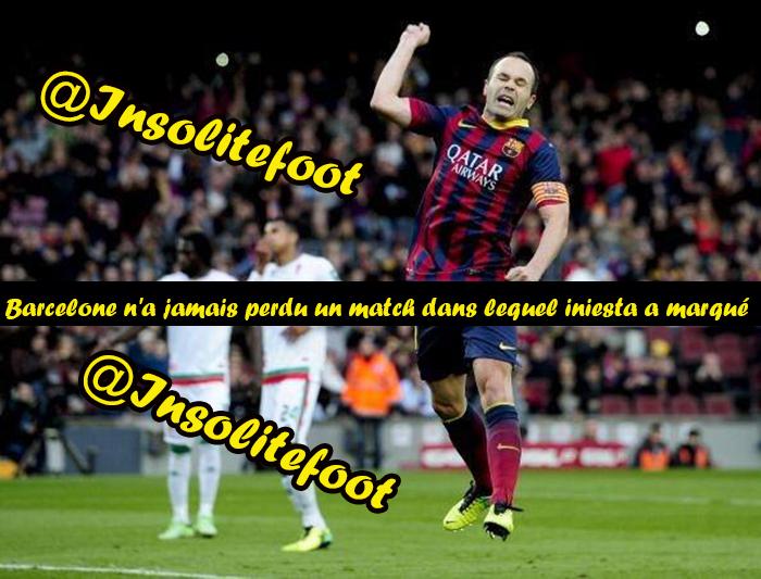 Barcelone n'a jamais perdu un match dans lequel Iniesta a marqué !!!