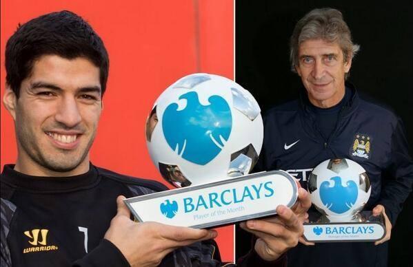 Luis Suarez et Manuel Pellegrini élus joueur et entraineur du mois de Décembre en Premier League!