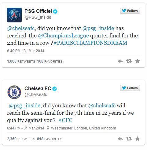 Et hop...PSG vs chelsea : ça chauffe sur Twitter!