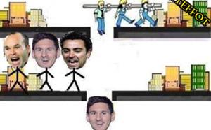 Messi toujours aidé par Xavi et Iniesta !!!