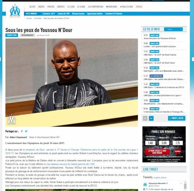 Quand le service de com de l'OM confond Youssou N'Dour avec le beau père de William Vainqueur