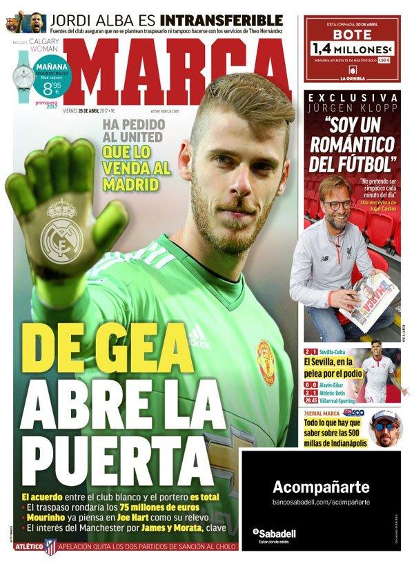 Manchester United : David de Gea au Real Madrid pour 75 millions d'euros