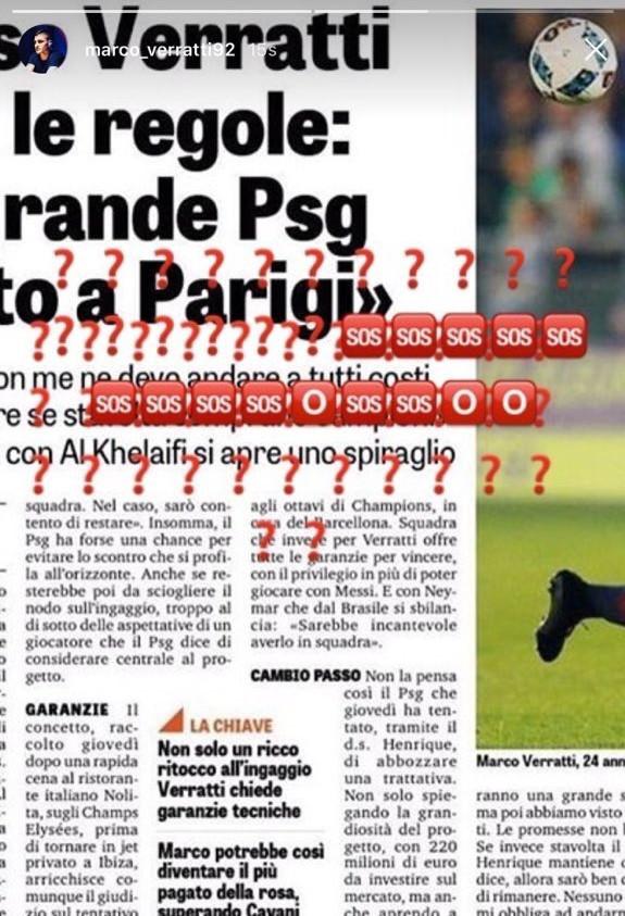 PSG : Verratti dément les propos tenus dans Gazzetta dello Sport