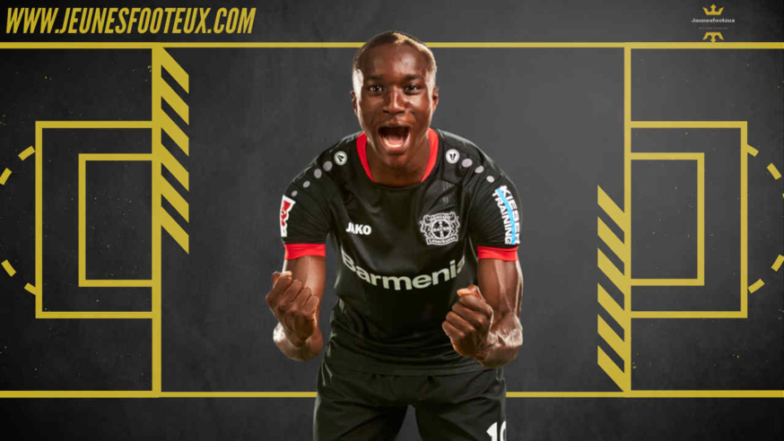 Moussa Diaby sous le maillot du Bayer Leverkusen