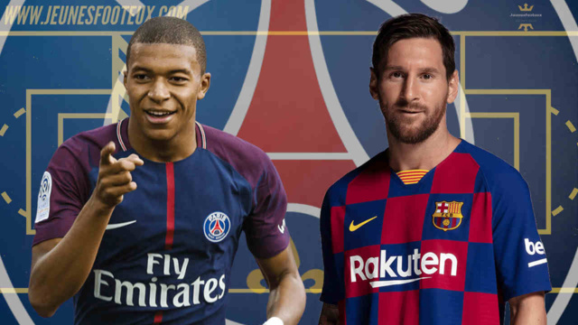 PSG-Barça : Mbappé (Paris SG), Messi (FC Barcelone).