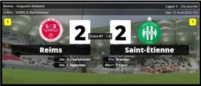 Saint-Étienne arrache le match nul contre Reims