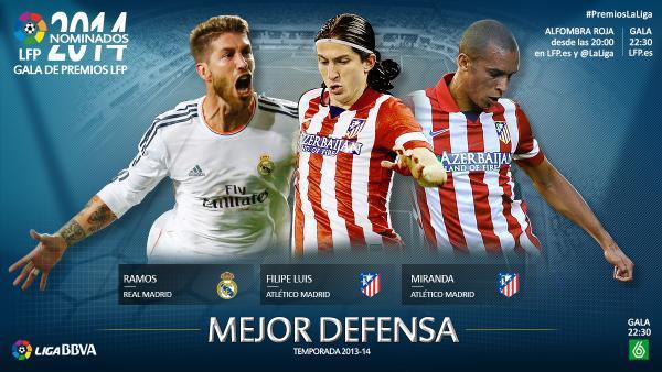 Les trois nommés au titre de meilleur défenseur de Liga saison 2013/2014