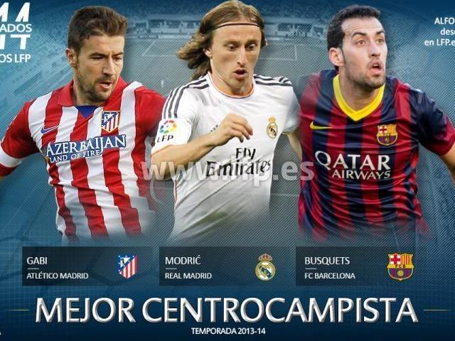 Les trois nommés au titre de meilleur milieu de terrain de Liga saison 2013/2014