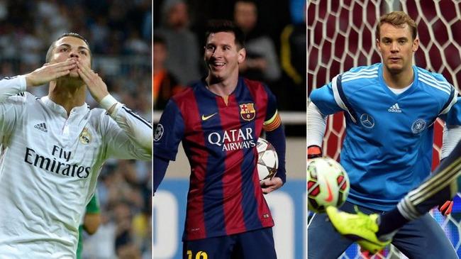 Ronaldo,  Messi et Neuer finalistes du Ballon d'Or FIFA 2014