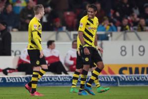 Image rare que celle d'Aubameyang et de Reus le sourire aux lèvres. Le Borussia va bien mieux !