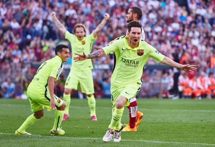 Explosion de joie après le but de l'insatiable Lionel Messi. Le FC Barcelone retrouve la couronne d'Espagne!