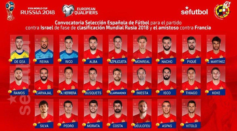 La liste des joueurs espagnols sélectionnés pour affronter Israël et la France