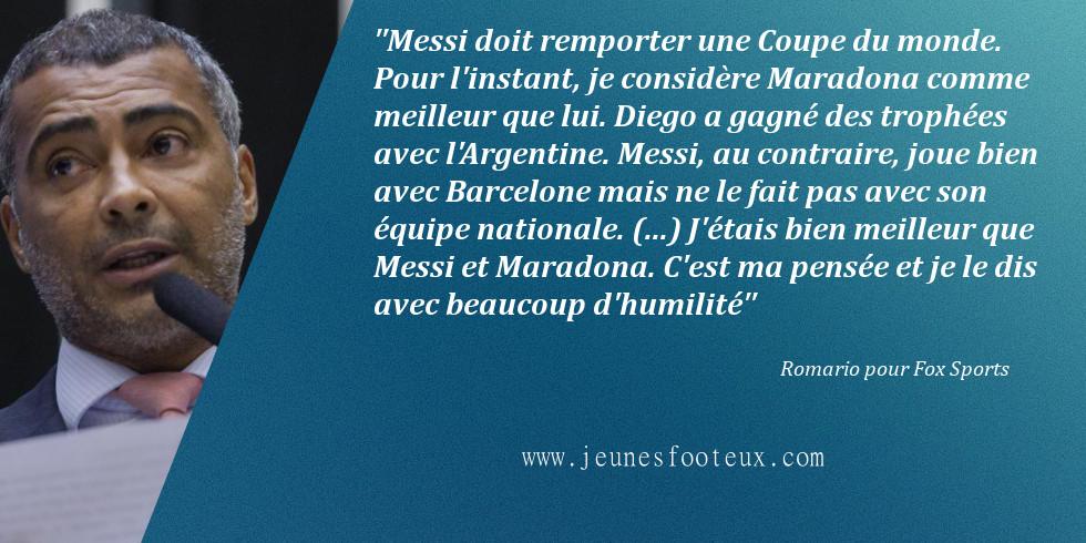 Romario s'estime un cran au dessus de Messi et Maradona