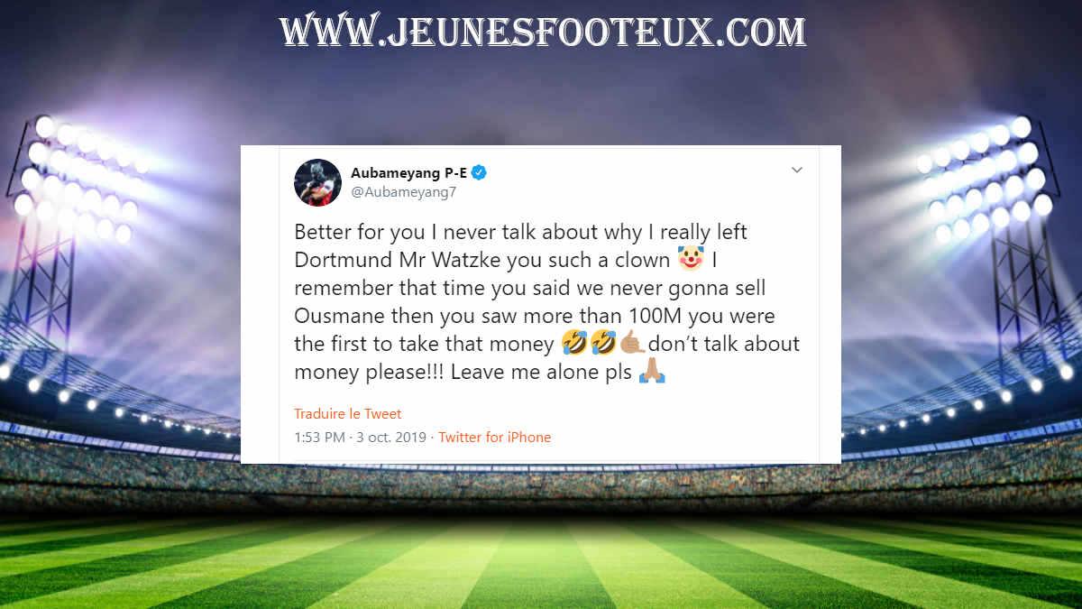 Arsenal : énorme Scud d' Aubameyang envoyé au président de Dortmund