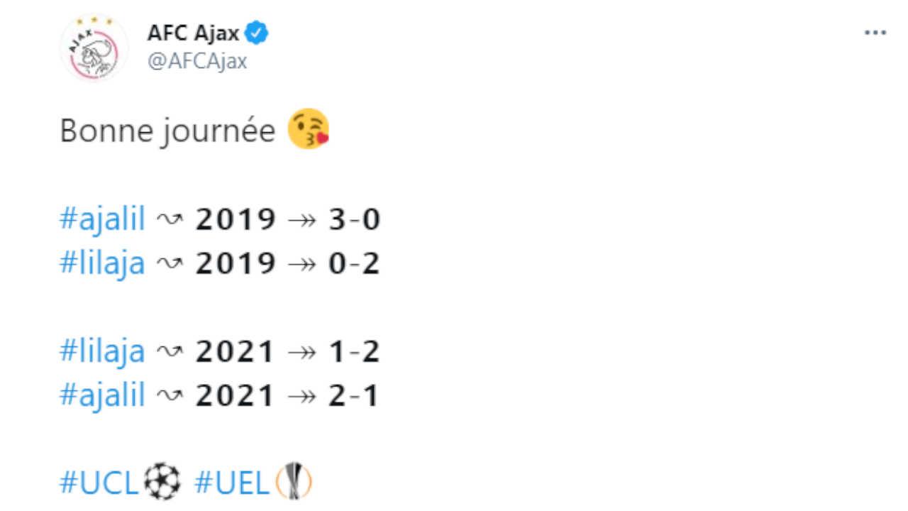 Le CM de l'Ajax se moque du LOSC sur Twitter