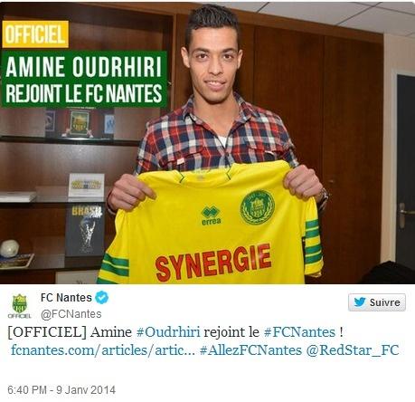 Amine Oudrhiri s'est engagé avec le FC Nantes