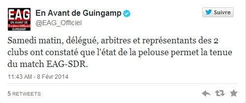 La rencontre EA Guingamp-Stade de Reims a été maintenu