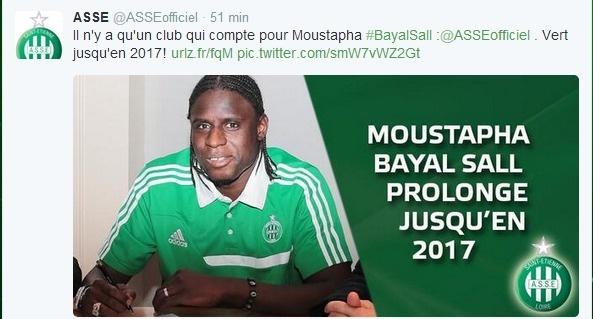 ASSE : Moustapha Bayal Sall prolonge son contrat à l'AS Saint-Etienne