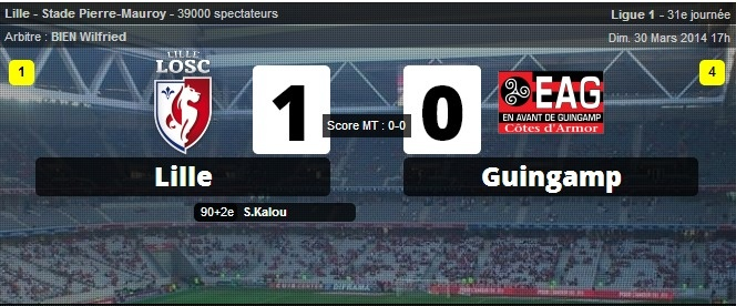 Lille s'impose contre Guingamp dans le temps additionnel