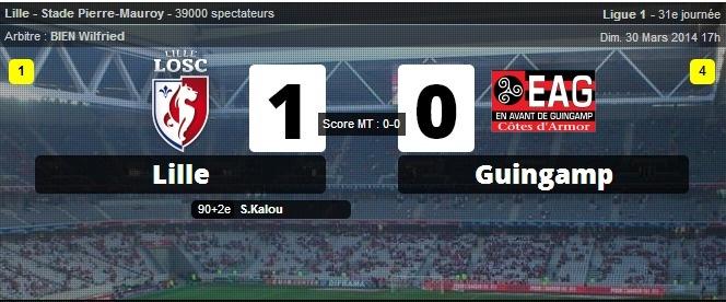 Lille s'impose contre Guingamp dans le temps additionnel