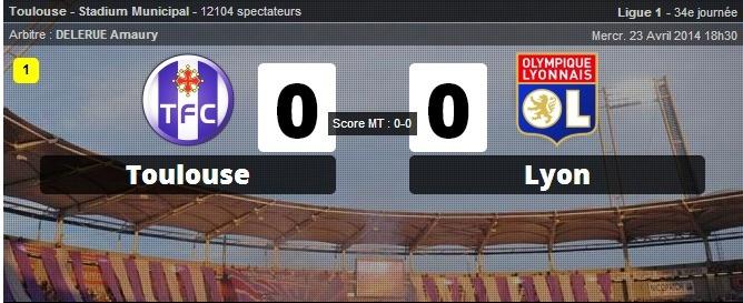 Pas de vainqueur entre Toulouse et Lyon
