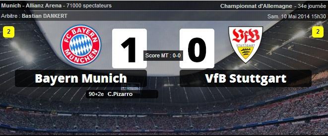 Le Bayern Munich s'impose contre le VFB STUTTGART