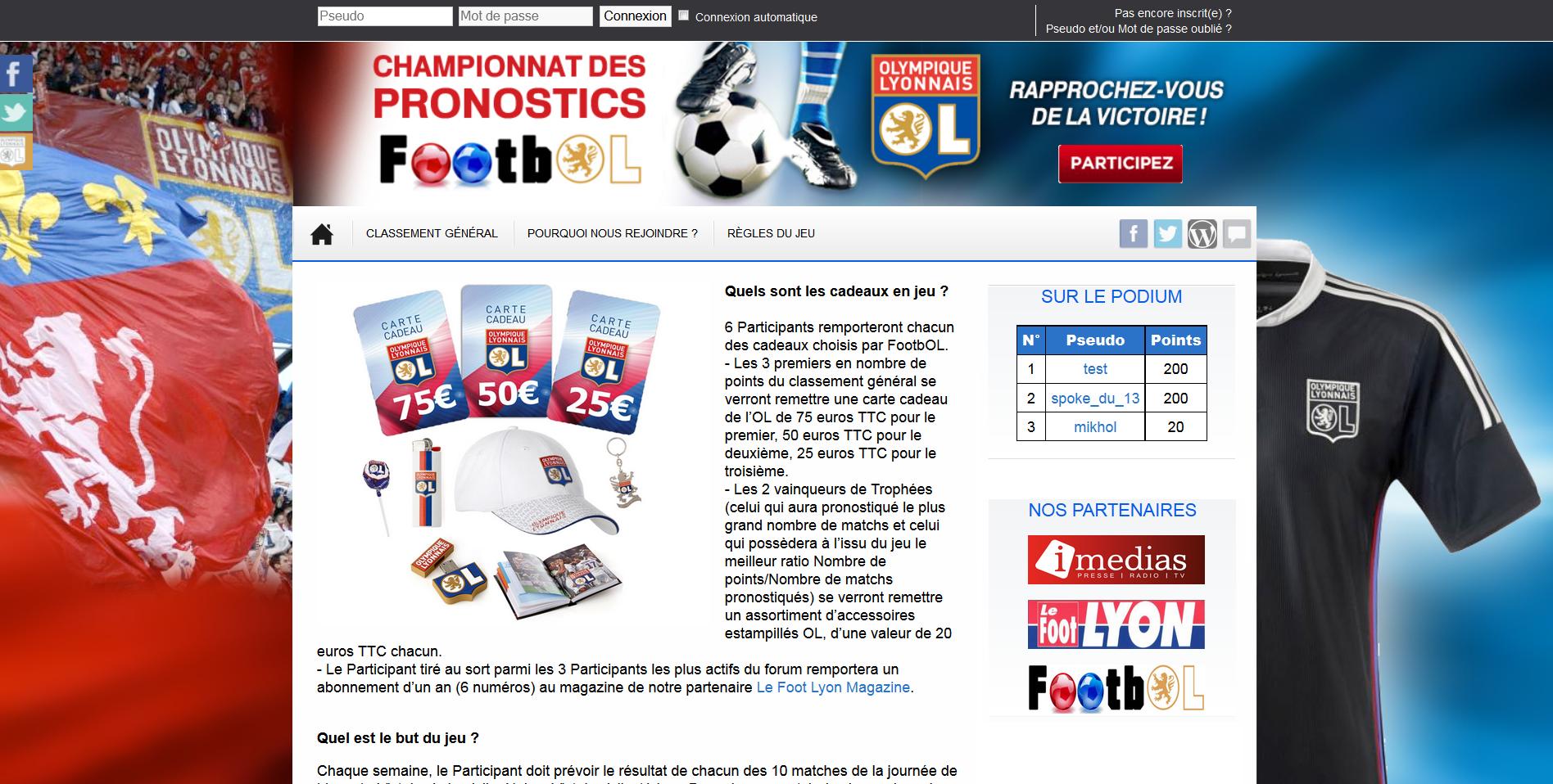 PronoFootbOL, le site gratuit de pronostics lyonnais, est officiellement ouvert