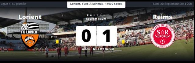 Deuxième victoire consécutive pour Reims qui s'impose à Lorient