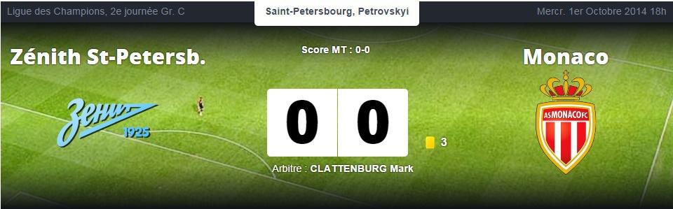 Ligue des Champions :  l'AS Monaco ramène un bon point du Zénith Saint-Pétersbourg
