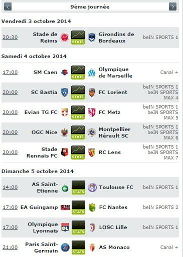 Le programme de la 9e journée de Ligue 1