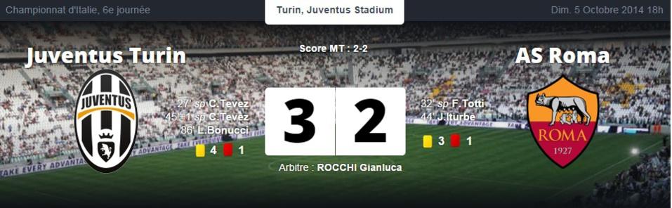Serie A :  la Juventus Turin s'impose dans le choc contre l'AS Rome