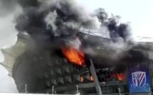 Un incendie spectaculaire au stade du Shanghai Shenhua